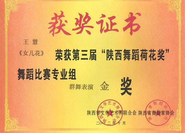 """王慧《春色.秋香》荣获第三届""""陕西舞蹈荷花奖""""舞蹈比赛群文组独舞表演金奖"""